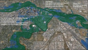 A comparison of the extent of flood inundation on the downtown core and inner city communities – green depicts inundation from the June 2013 flood, blue highlights additional areas that will be inundated by floodwaters if a flood of equal magnitude to the 1879 flood were to hit Calgary. Modeled with a peak flow value of 2265cms for the Bow River (data from Water Survey Canada archived hydrometric data and the City of Calgary) and a regression analyses applied between the Bow and Elbow Rivers to estimate a corresponding flow value of 894cms for the Elbow River. Visualization and modeling conducted by Alberta WaterSmart on behalf of the Calgary River Communities Action Group.